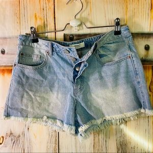 EUC Forever 21 Frayed Distressed Button Fly Jean Shorts Size 27 Light Blue